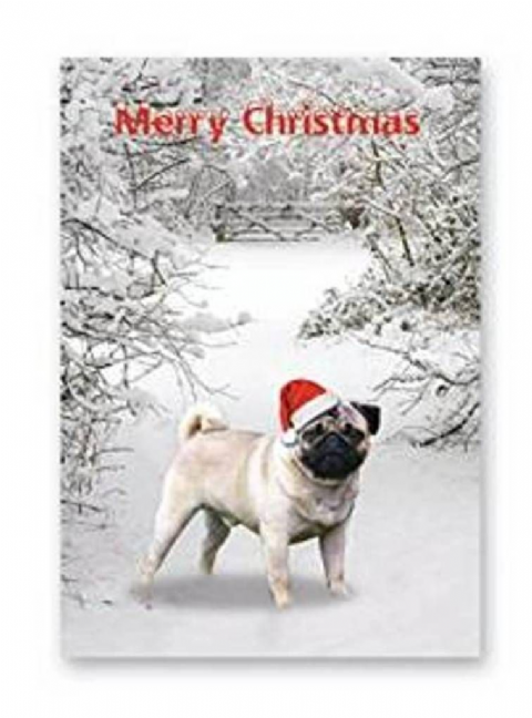 PUG CHRISTMAS GREETINGS CARDS pack of five